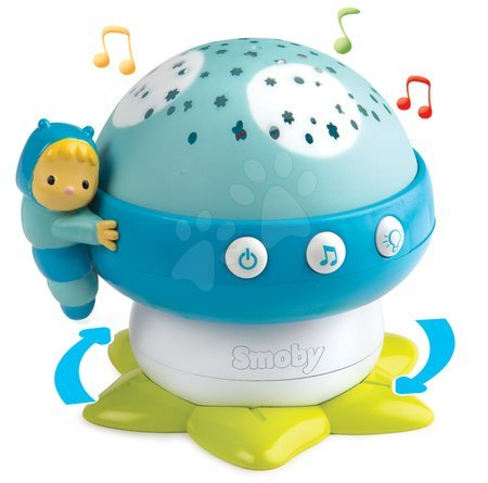 Projektor za posteljico Goba Cotoons Smoby z lučko in 4 melodijami od 0 meseca