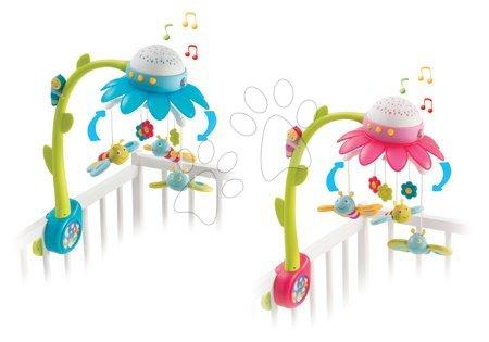Hračky do postieľky  - Kolotoč nad postieľku s motýlikmi Kvetinka Flower Cotoons Smoby s hudbou a svetlom modrý/ružový od 0 mes