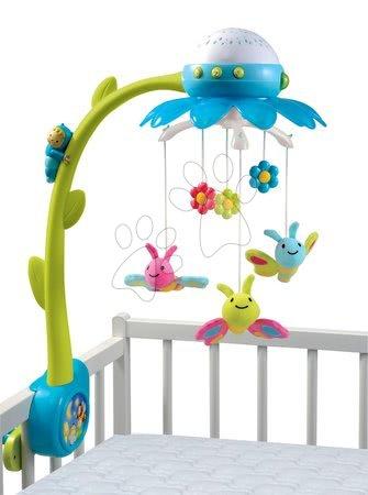 Hračky do postieľky  - Kolotoč nad postieľku Flower Cotoons Smoby s motýlikmi, hudbou a svetlom modrý od 0 mes