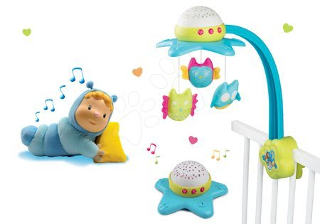 Hračky pro nejmenší - Set kolotoč nad postýlku Star Cotoons 2v1 Smoby se sovičkami a svítící panenka Chowing do postýlky