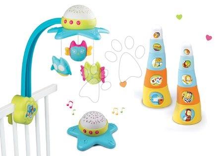 Kolotoče nad postieľku - Set kolotoč nad postieľku Star Cotoons Smoby 2v1 so sovičkami a skladacie šálky Happy Tower