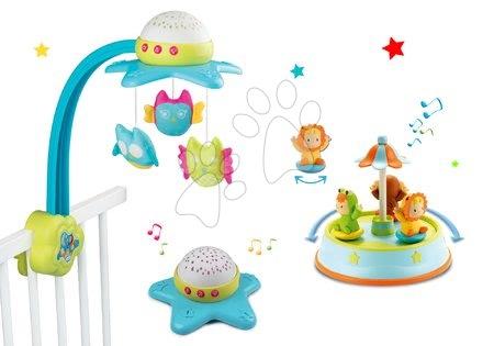 Set kolotoč nad postýlku Star Cotoons Smoby 2v1 se sovičkami a tancující figurky se zvukem