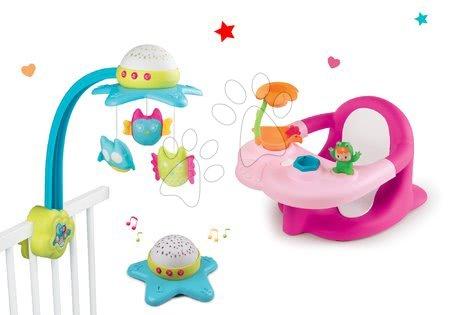 Set vrtuljak nad krevetićem Star Cotoons 2in1 Smoby a sedátko do vane Žaba s prísavkami ružové/zelené SM110116-5