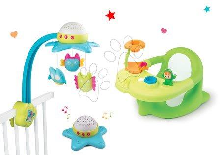 Komplet vrtiljak za nad posteljico Star Cotoons Smoby in sedež za v banjo Žaba s priseski rožnati/zeleni
