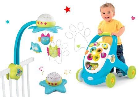 Szett kiságyforgó Star Cotoons 2in1 Smoby baglyokkal és készségfejlesztő járássegítő fénnyel és hanggal (kék/rózsaszín)
