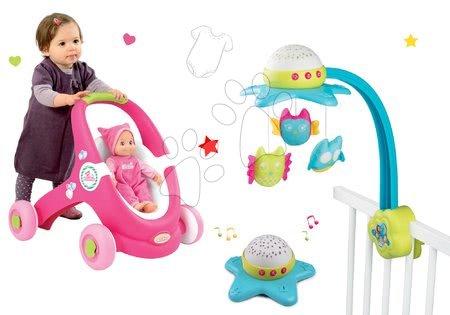 Set kolotoč nad postieľku Star Cotoons 2v1 Smoby so sovičkami a kočík pre bábiku a chodítko 2v1 MiniKiss