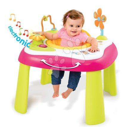 Hračky pro nejmenší - Didaktický stolek Cotoons Youp Smoby multifunkční růžový od 6 měsíců