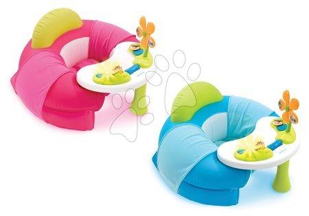 Nafukovací křeslo Cotoons Cosy Seat Smoby s didaktickým stolkem od 6 měsíců modré/růžové