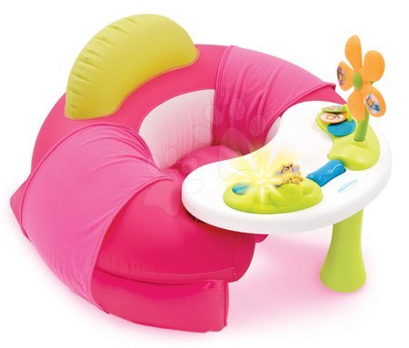Napihljiv naslonjač Cotoons Cosy Seat Smoby z didaktično mizo rožnat od 6 mes