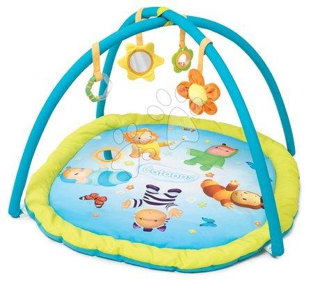 Hrazdičky a hrací deky - Hrací deka s hrazdou Cotoons Activity Smoby s chrastítkem, kousátkem, zrcadlem a plyšovou květinkou modrá_1
