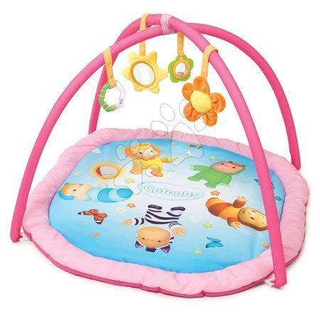 Hrazdičky a hrací deky - Hrací deka s hrazdou Cotoons Activity Smoby s chrastítkem, kousátkem, zrcadlem a plyšovou květinkou růžová_1