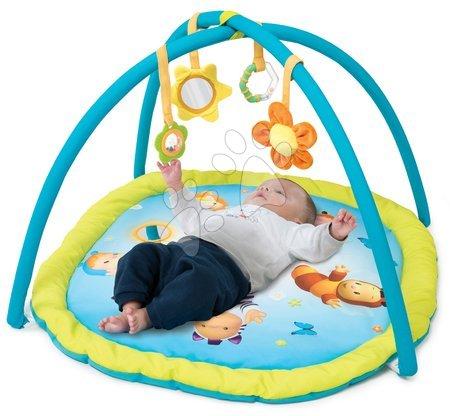 Hrazdičky a hrací deky - Hrací deka s hrazdou Cotoons Activity Smoby s chrastítkem, kousátkem, zrcadlem a plyšovou květinkou modrá