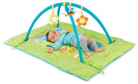 Hrazdičky a hrací deky - Hrací deka Cotoons Discovery Smoby s hrazdou, hnízdem, chrastítky a rybníkem pro nejmenší modrá