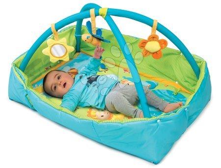 Hrazdičky a hrací deky - Hrací deka s hrrazdou Cotoons Discovery Smoby s hnízdem, chrastítky a rybníkem pro nejmenší modrá