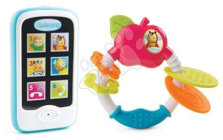 Set hraček kousátko Jablíčko Cotoons Smoby a mobilní telefon modrý od 6 měsíců