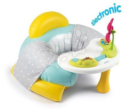 Jucării pentru bebeluși - Fotoliu cu măsuță măsuță de joacă Cotoons Smoby cu căptușeală din material și floare cu sunete și lumini de la 6 luni_1