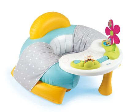 Jucării pentru bebeluși - Fotoliu cu măsuță măsuță de joacă Cotoons Smoby cu căptușeală din material și floare cu sunete și lumini de la 6 luni