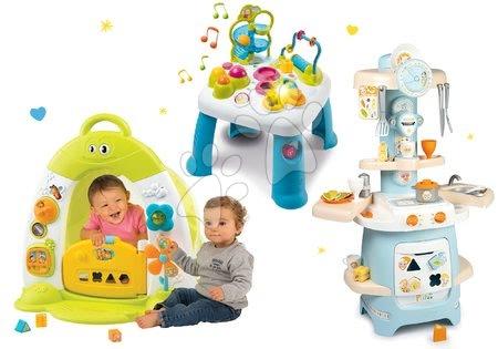 Sety pro nejmenší - Set domeček se stanem Discovery Cotoons Smoby se zvukem a světlem, kuchyňka a didaktický stolek s funkcemi