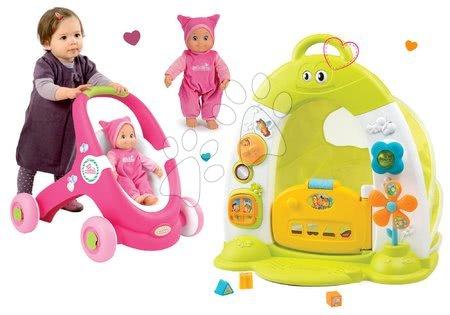 Set domček so stanom Discovery Cotoons Smoby so zvukom a svetlom a kočík a chodítko MiniKiss s bábikou