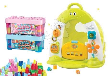 Hračky pro nejmenší - Set domeček se stanem Discovery Cotoons Smoby se zvukem, světlem, stavebnice v dóze 50 kostek