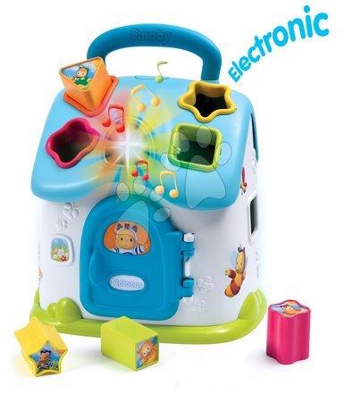 Razvoj motorike - Didaktična hišica Cotoons Smoby za vstavljanje z zvokom in lučko modra od 12 mes