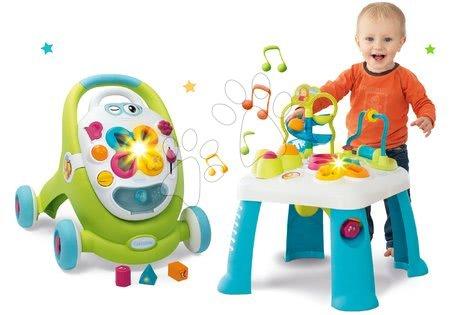 Hračky pro nejmenší - Set didaktický stůl Activity Table Cotoons Smoby se zvukem světlem a chodítko s interaktivním kufříkem Trott