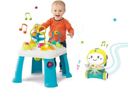 Jucării pentru bebeluși - Set măsuță de jucărie didactică Activity Table Cotoons Smoby cu sunet lumină și robot interactiv 1,2,3 Smart cu senzor de mișcare și 2 jucării educative