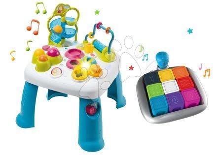 Interaktivní hudební stoly - Set didaktický stůl Activity Table Cotoons Smoby se zvukem, světlem a interaktivní hra Clever Cubes Smart s 3 hrami barvy a čísla