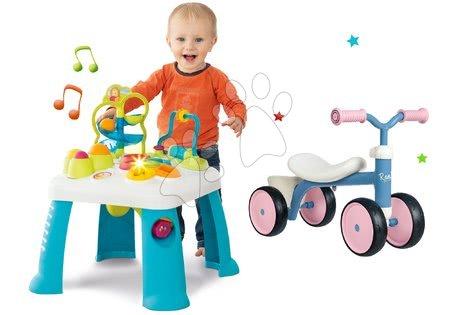 Jucării pentru bebeluși - Set măsuță de jucărie didactică Activity Table Cotoons Smoby cu sunet, lumină și babytaxiu Rookie cu ghidon, care se poate roti