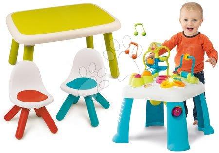 Sety pro nejmenší - Set didaktický stůl Activity Table Cotoons Smoby se zvukem, světlem a stůl se dvěma židlemi Kid