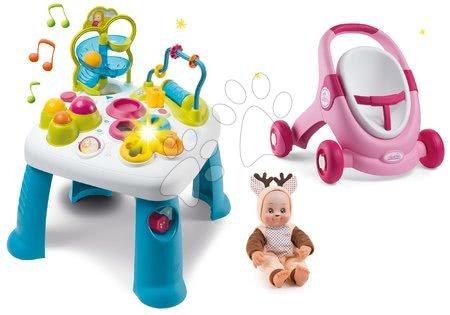 Interaktivní hudební stoly - Set didaktický stolek Cotoons Smoby s funkcemi a chodítko MiniKiss s panenkou Srneček 'Cmuk' zvukem