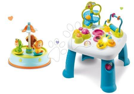 Jucării pentru bebeluși - Set masă didactică Cotoons Smoby cu funcții, roz și carusel cu figurine dansatoare și melodii
