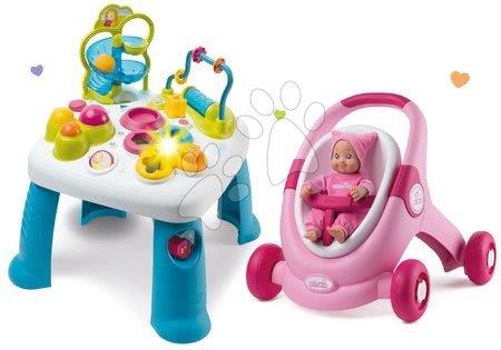 Interaktivní hudební stoly - Set didaktický stolek Cotoons Smoby s funkcemi růžový kočárek a chodítko 2v1 MiniKiss s panenkou