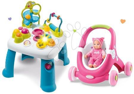 Set didaktický stolek Cotoons Smoby s funkcemi růžový, kočárek, chodítko 2v1 MiniKiss s panenkou