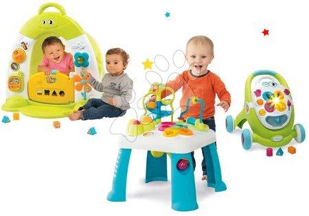 Hračky pre bábätká - Set didaktický stolík Cotoons Smoby s funkciami modrý, domček so stanom a chodítko s kockami svetlom a melódiou zelené