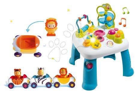 Interaktivní hudební stoly - Set didaktický stolík Cotoons Smoby s funkcemi modrý a autíčka Imagin Car Cotoons