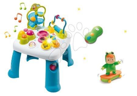 Jucării pentru bebeluși - Set măsuţă interactivă Cotoons Smoby albastră cu funcţii şi skateboarder cu telecomandă