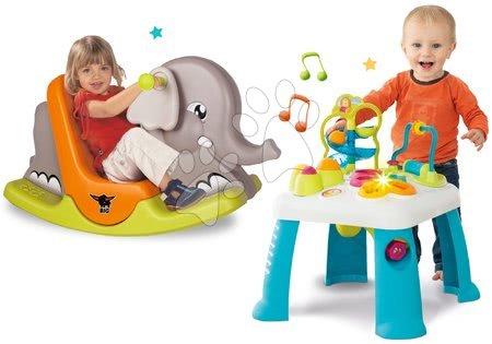 Sety pro nejmenší - Set didaktický stůl Activity Table Cotoons Smoby se zvukem světlem a houpačka slon s pohyblivýma ušima