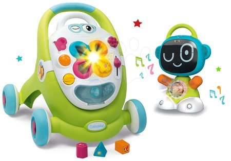 Hračky pro nejmenší - Set chodítko s didaktickým kufříkem Trott Cotoons 2v1 Smoby se zvukem a světlem a interaktivní Robot TIC Smart s 3 naučnými hrami