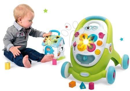 Dětská chodítka - Set chodítko s didaktickým kufříkem Trott Cotoons 2v1 Smoby se zvukem a světlem a domeček s kostkami a otevíracími dveřmi