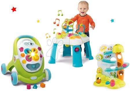 Sety pro nejmenší - Set chodítko Trott Cotoons 2v1 Smoby zelené s kostkami, světlem a melodií a didaktický stolek s funkcemi a hra s míčky