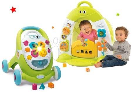 Jucării pentru bebeluși - Set premergător și valiză didactică Trott Cotoons 2in1 Smoby cu sunet și lumină și căsuță interactivă cu cort