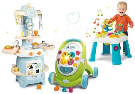 Sety pro nejmenší - Set chodítko Trott Cotoons 2v1 Smoby v kuchyňce s kostkami, světlem a melodií a didaktický stolek s funkcemi