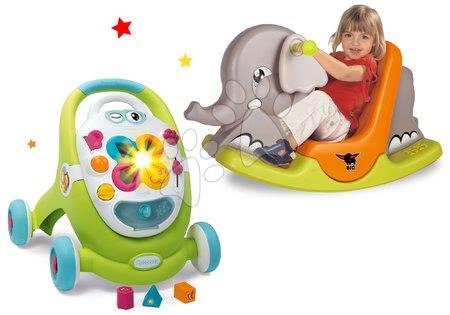 Sety pro nejmenší - Set chodítko s didaktickým kufříkem Trott Cotoons 2v1 Smoby se zvukem a světlem a houpačka slon s pohyblivýma ušima