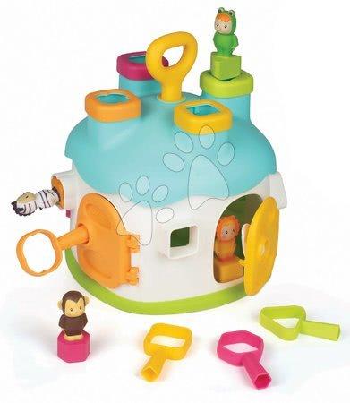 Razvoj motorike - Didaktična hiška Shape House Cotoons Smoby s ključem v vratih in kockami za vstavljanje od 12 mes