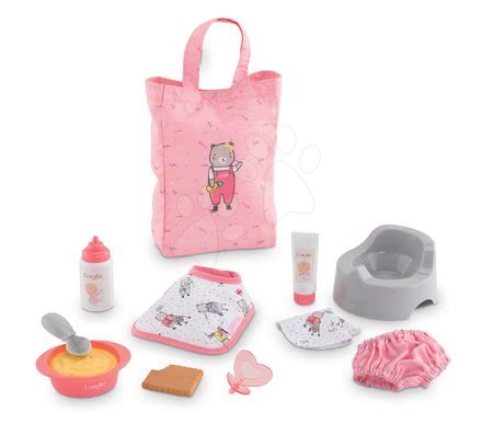 Dodatki za punčke in dojenčke - Dodatki za dojenčka Large Accessories Set Corolle v pleteni torbi za 30 cm dojenčka od 18 mes