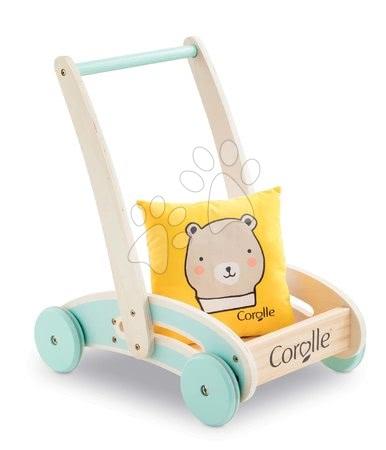 Panenky pro děti - Dřevěné chodítko a kočárek Wooden Baby Walker Pilow Corolle s měkkým polštářem pro panenku od 12 měs