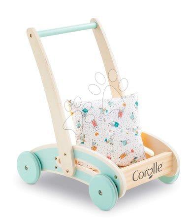 Corolle - Premergător și cărucior din lemn Wooden Baby Walker Pilow Corolle cu pernă moale pentru păpușă de la 12 luni