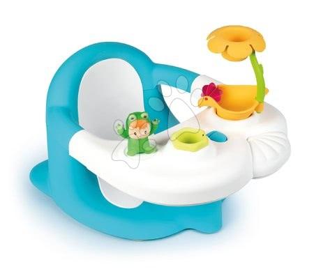 Hračky do vany - Sedátko do vany Žába Baby Bath Time Cotoons Smoby s květinkou a přísavkami od 6–16 měsíců