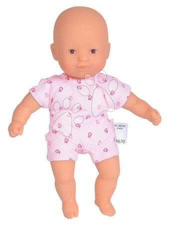Bábiky od 18 mesiacov - Bábika Mini Calin Pink Corolle s hnedými očami a v ružových vzorovaných šatočkách 20 cm od 18 mes_1